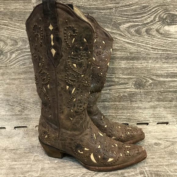 d1dc663962e Corral Brown Bone Inlay Studded Cowgirl Boots